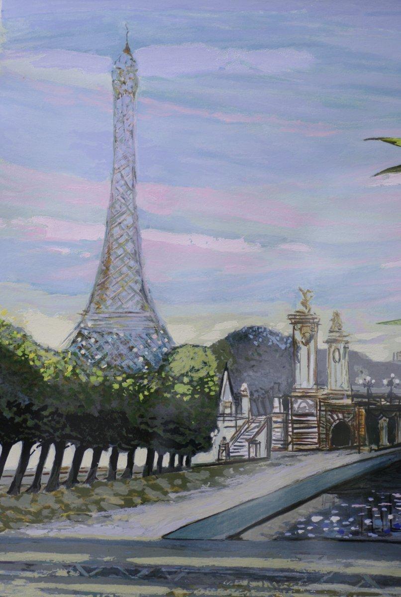 Sérigraphie Originale Michel Henry Tour Eiffel Pont Alexandre III Paris-photo-4