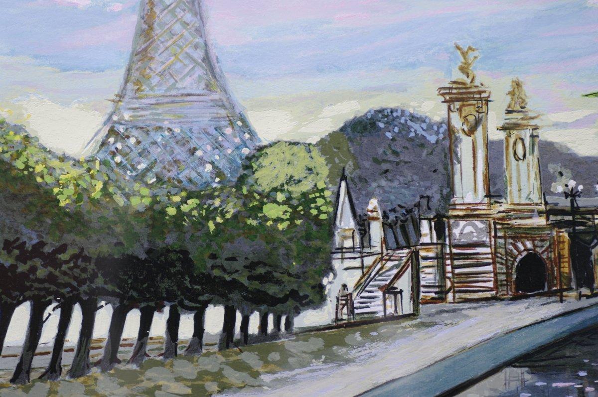 Sérigraphie Originale Michel Henry Tour Eiffel Pont Alexandre III Paris-photo-1
