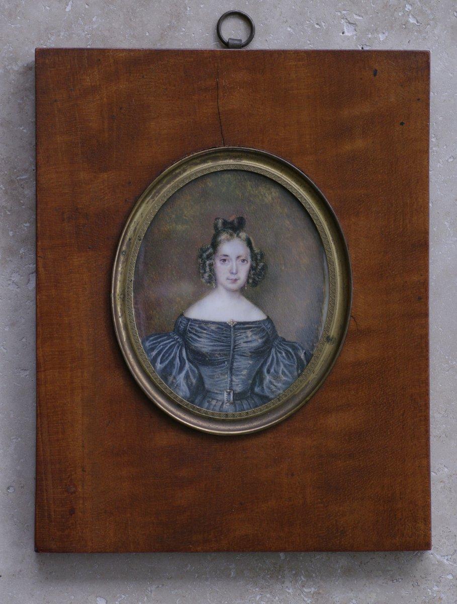 Miniature époque Romantique Jeanne Françoise Olympiade Thomas 1830