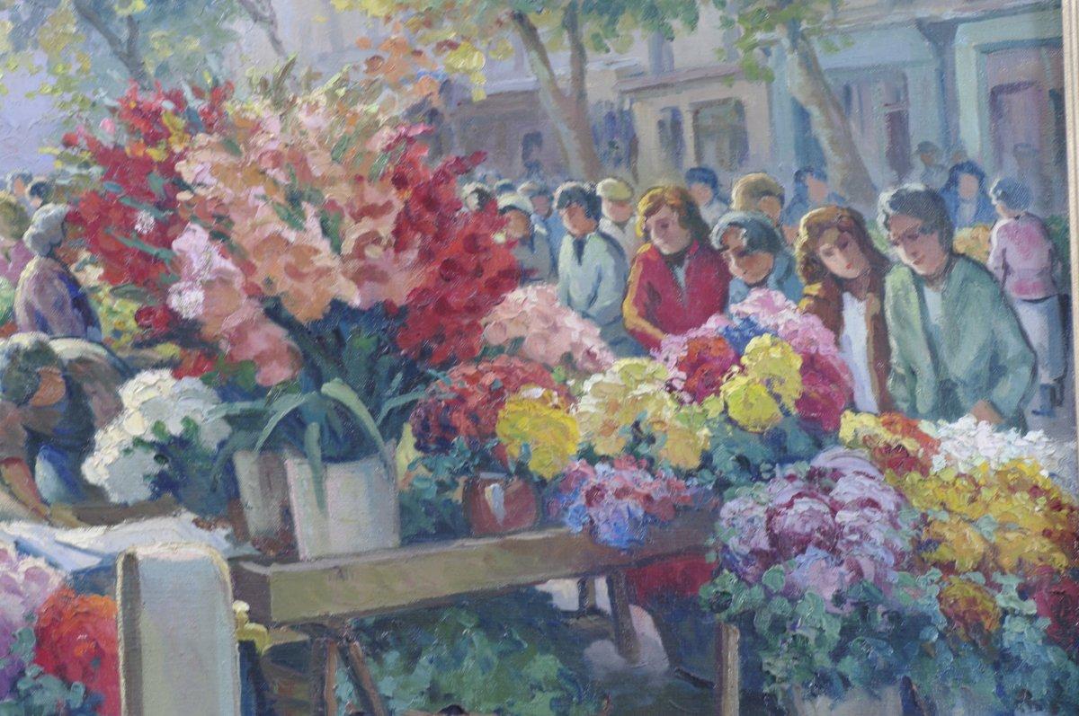 Marché Aux Fleurs Tableau De Pierre Fabre 1930 Toulon -photo-3