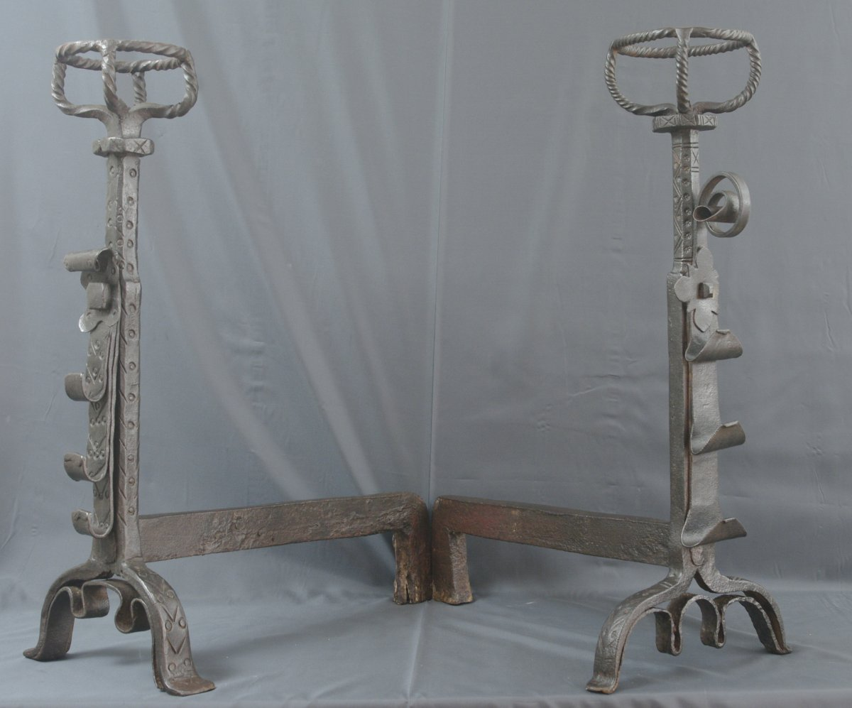 Pair Of Landiers Chenets Wrought Iron 17th