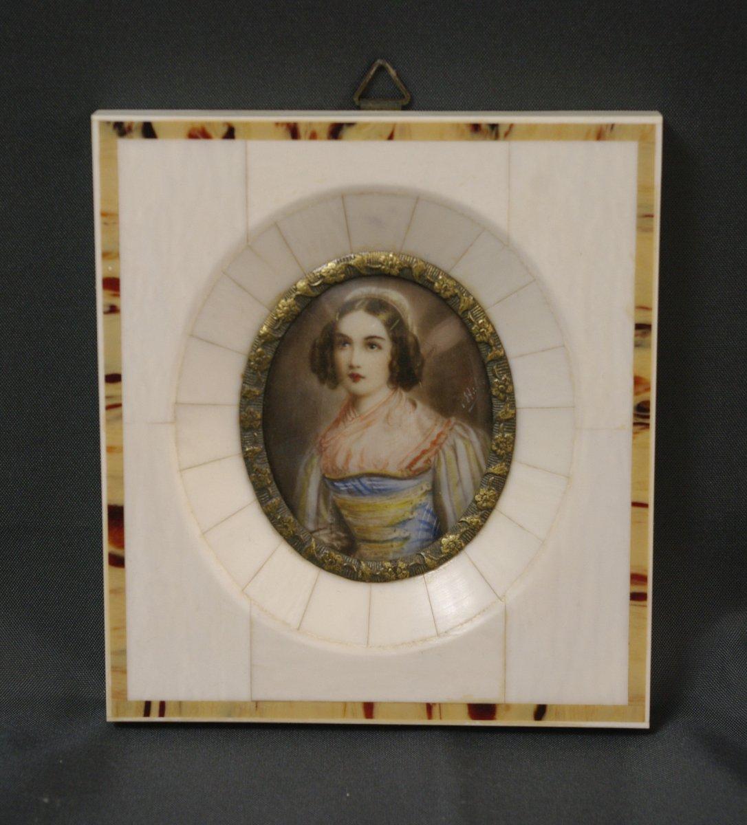 Miniature Sur Ivoire époque Romantique Tabletterie