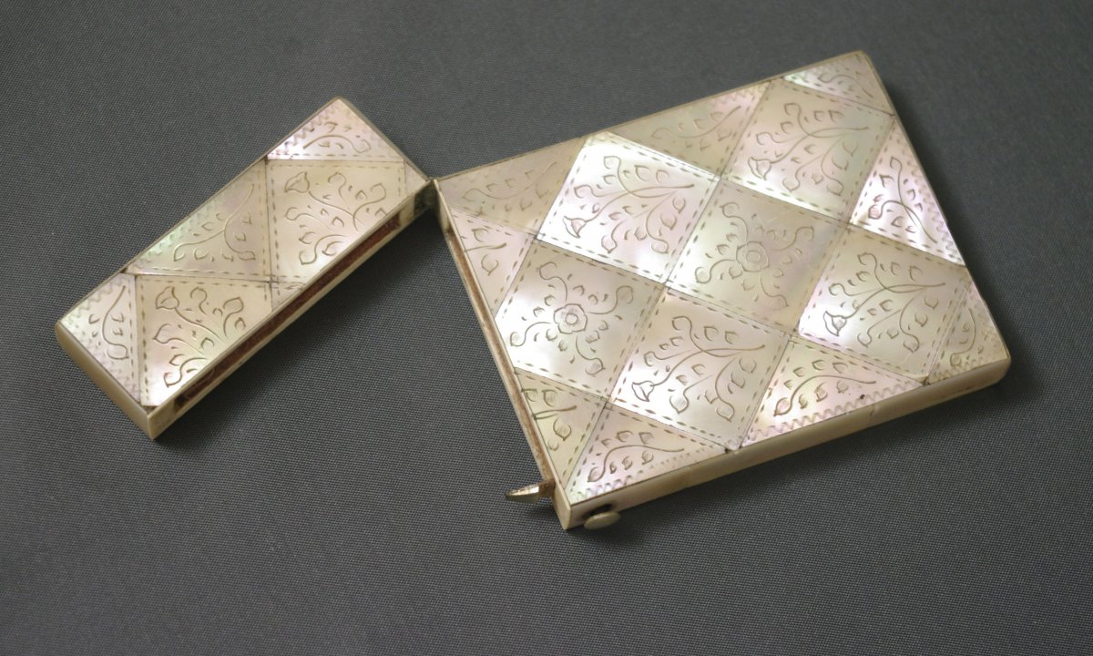 19th Century Tablet Case Or Engraved Mother-of-pearl Ball Notebook-photo-2