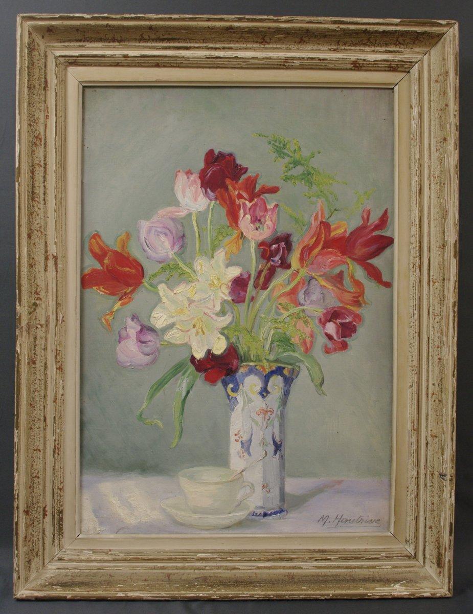 Hautrive Mathilde-marguerite Vase Et  Bouquet Vers 1930
