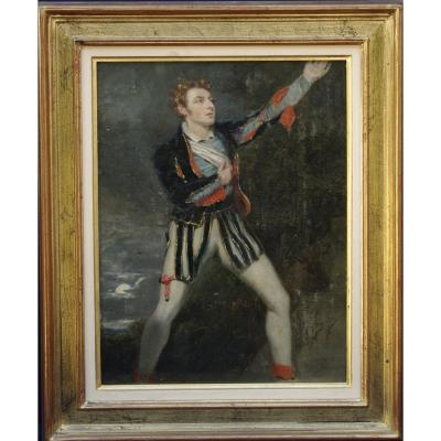 Tableau XVIIIème Robert Davy Portrait De John Philip Kemble Hamlet Shakespeare