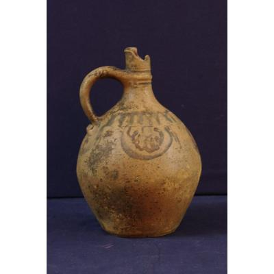 Antique Terracotta Jug With Simple Decor Blue And Plum Medieval Era