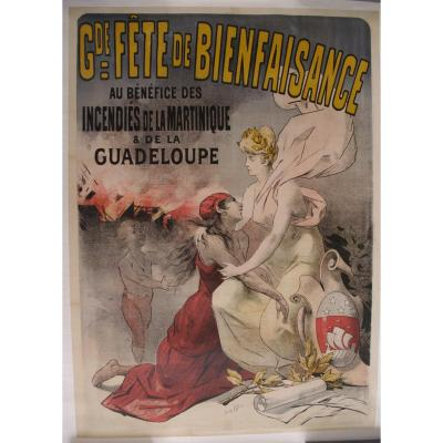 Affiche 1902 éruption Montagne Pelée Martinique Antilles Caraïbes Lucien Lefevre