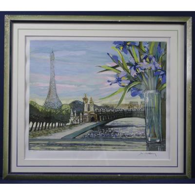 Original Screenprint Michel Henry Eiffel Tower Pont Alexandre III Paris