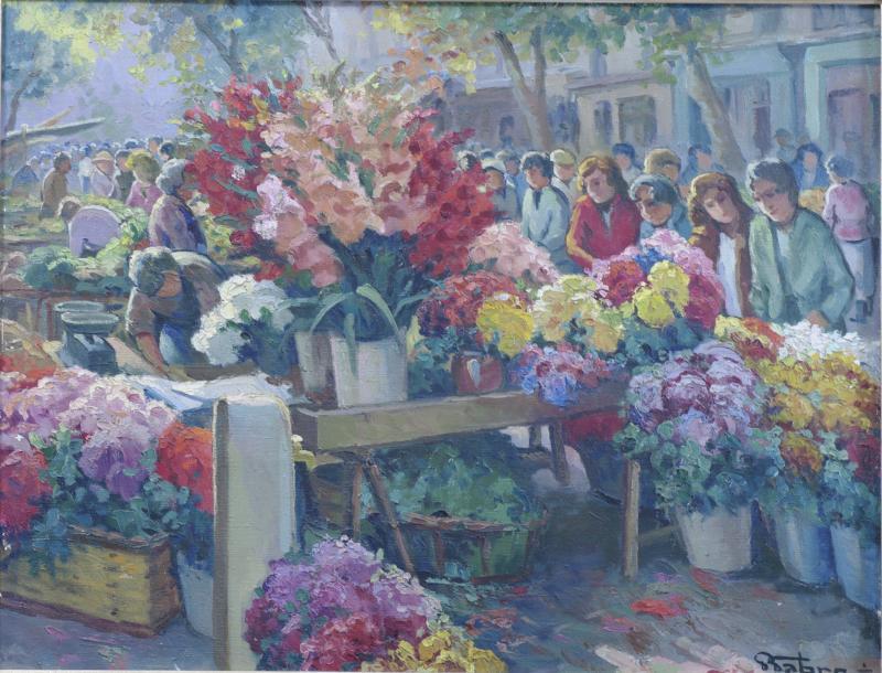 Marché Aux Fleurs Tableau De Pierre Fabre 1930 Toulon -photo-4