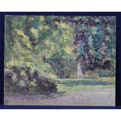 Painting By Charles Quillet Park And Monument Baden-baden