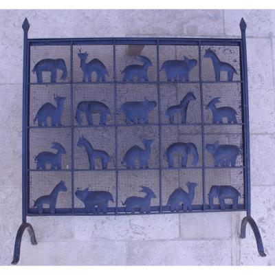 In Front Of Fire 1950 Wrought Iron African Animals