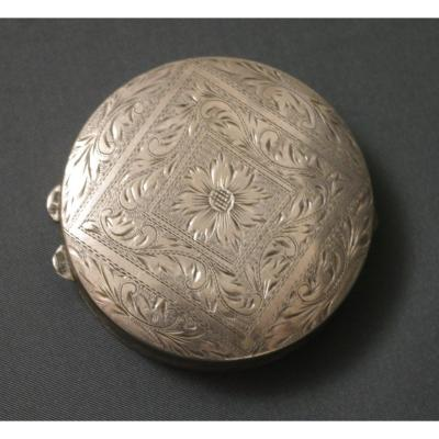 19th Century Engraved Pill Box Silver & Vermeil