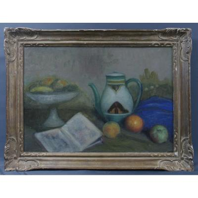 Tableau Nature Morte Vers 1930 Monogramme I. W.