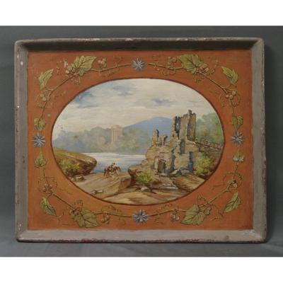 19th Tray In Painted Tin With An Antique Landscape
