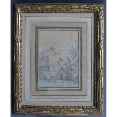 18th Century Watercolor Golden Wood Frame