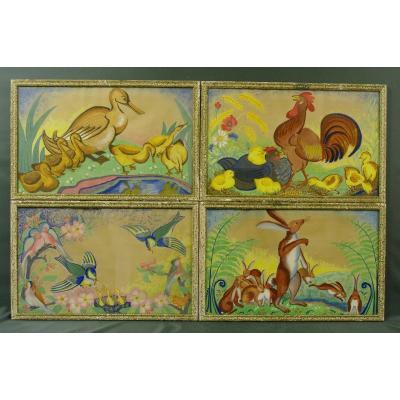Gouaches Decor Children's Room 1925 Art-deco Suite Of 4 Frames