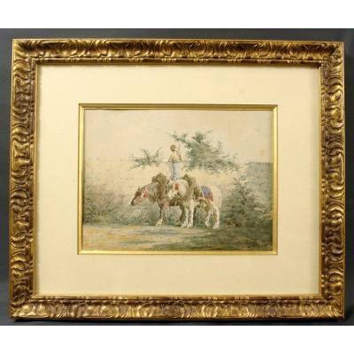 Watercolor 1880 By Emile Jolly Horses Percheron