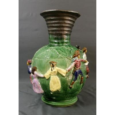 Large Ceramic Vase Circa 1950 Le Monde Et Sa Farandole