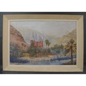 Orientalist Painting Around 1950 Todra Gorges Morocco