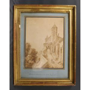 Drawing Rapperswil 1820 Switzerland Signed Sophie Lac De Zurich
