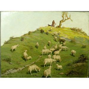 Table Giulio Vittini Shepherdess And Herd Of Sheep Circa 1930