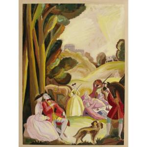 Gouache 1925 Art-deco Lunch On The Grass Or The Rest Riding