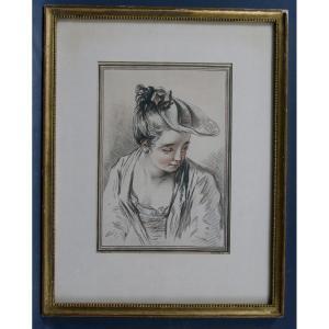 Estampe Par Demarteau d'Après Watteau Manière Aux Deux Crayons