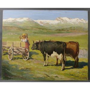 Tableau Vittini Giulio 1949 Grand Paysage Montagne Vaches