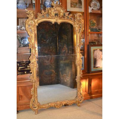 Grand Miroir à Par Closes En Bois Doré d'èpoque Louis XV