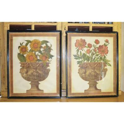Paire De Gravures Arte Povera Representant De Grands Compositions Florales