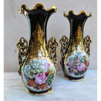 Paire De Grands Vases  en Valentine  d'époque Napoleon III