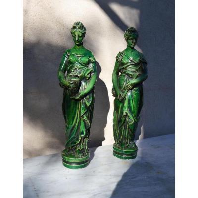 paire de statues en terre vernissée