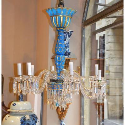 Lustre En Cristal Bleu De Baccarat  époque Charlesx
