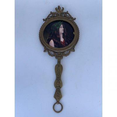 Miroir à Main - Bronze Et émail