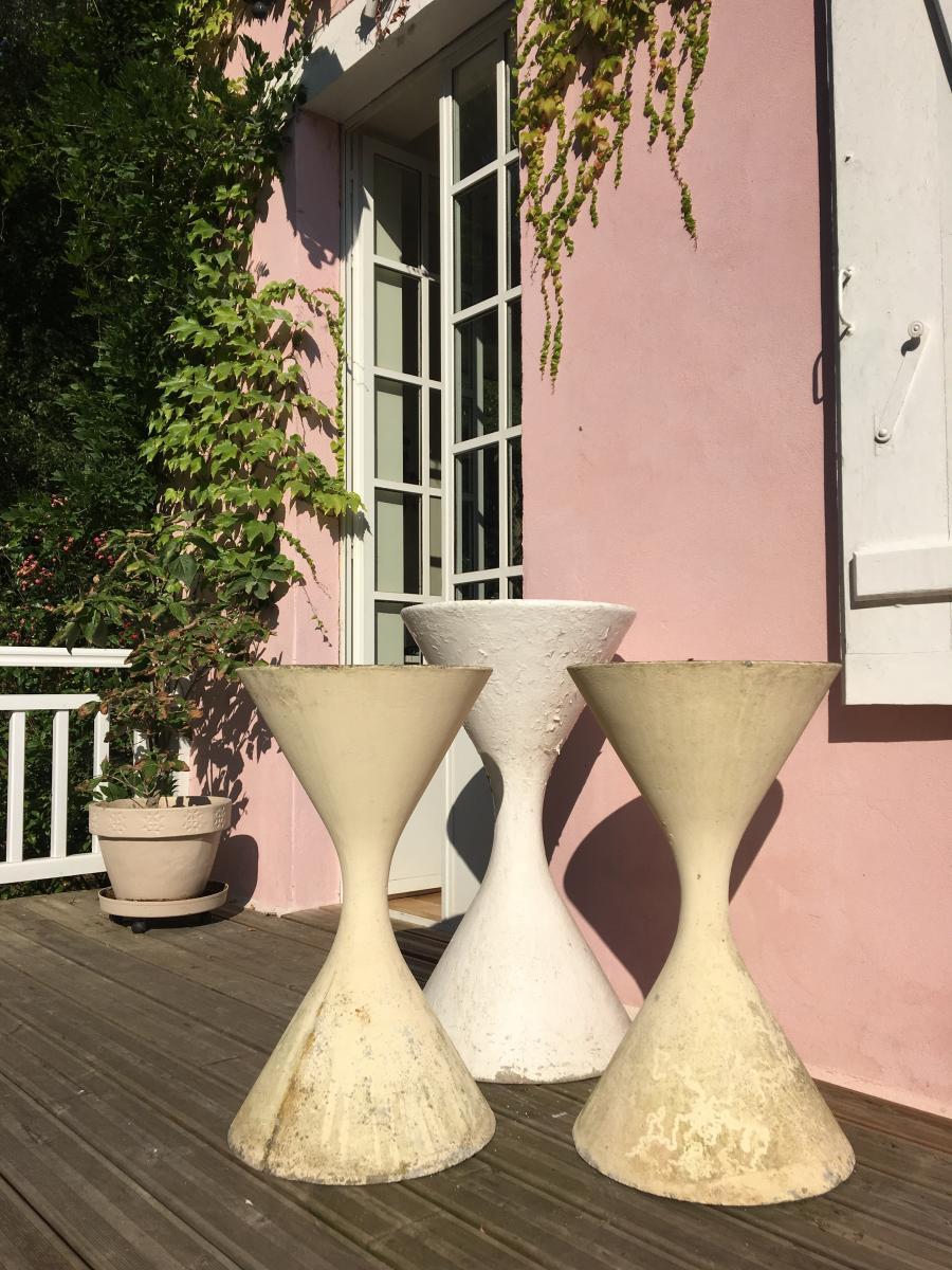"""Trois Jardinières """"diabolo"""" Par Willy Guhl"""