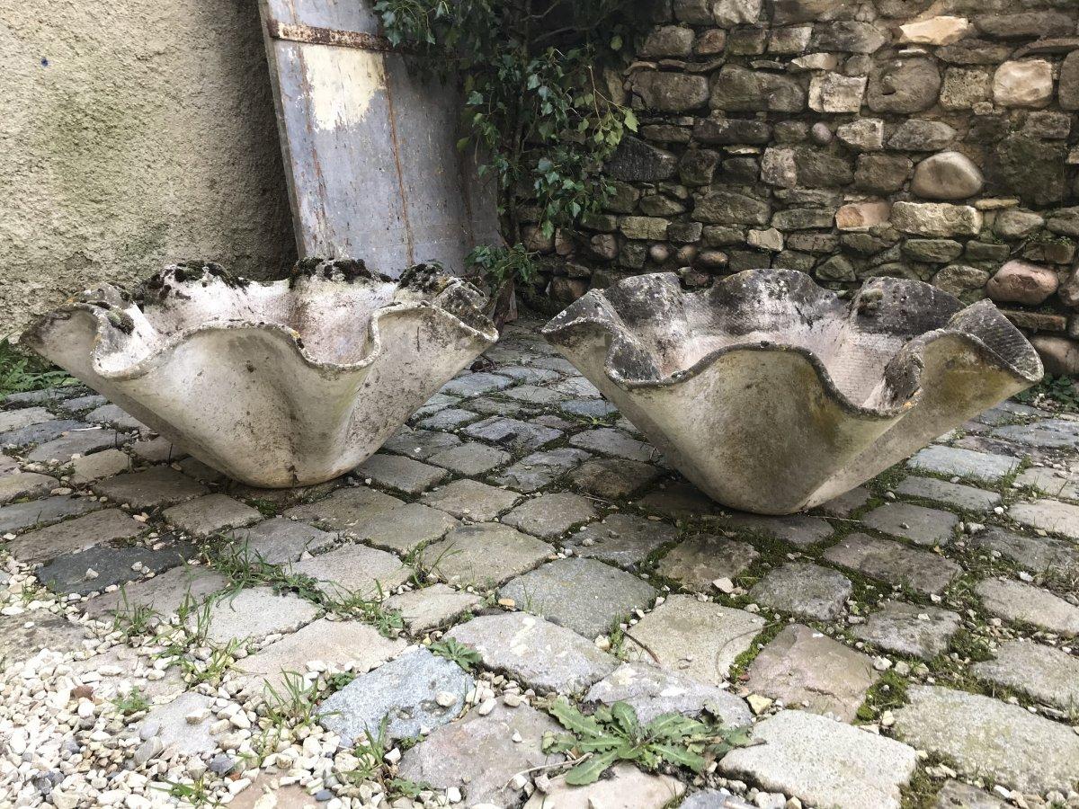 """Paire de jardinières"""" Mouchoir"""" par Willy Guhl pour Eternit,  Années 50."""
