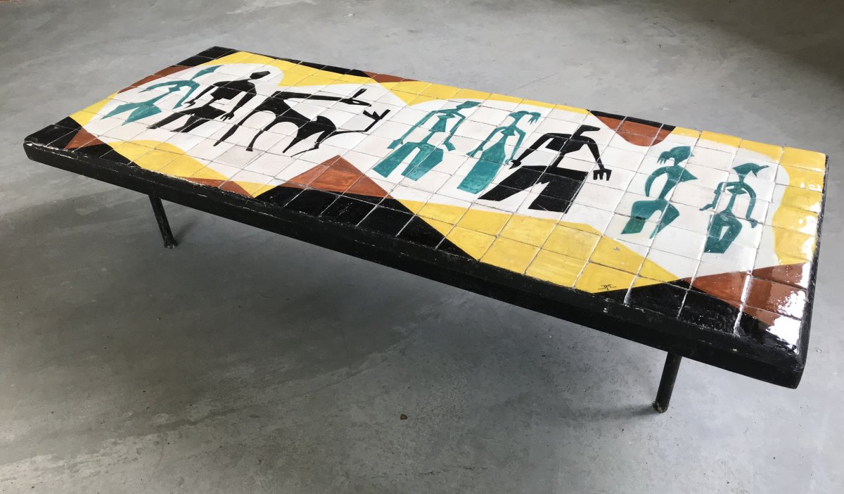 Enameled Ceramic Coffee Table, France, 1950s.