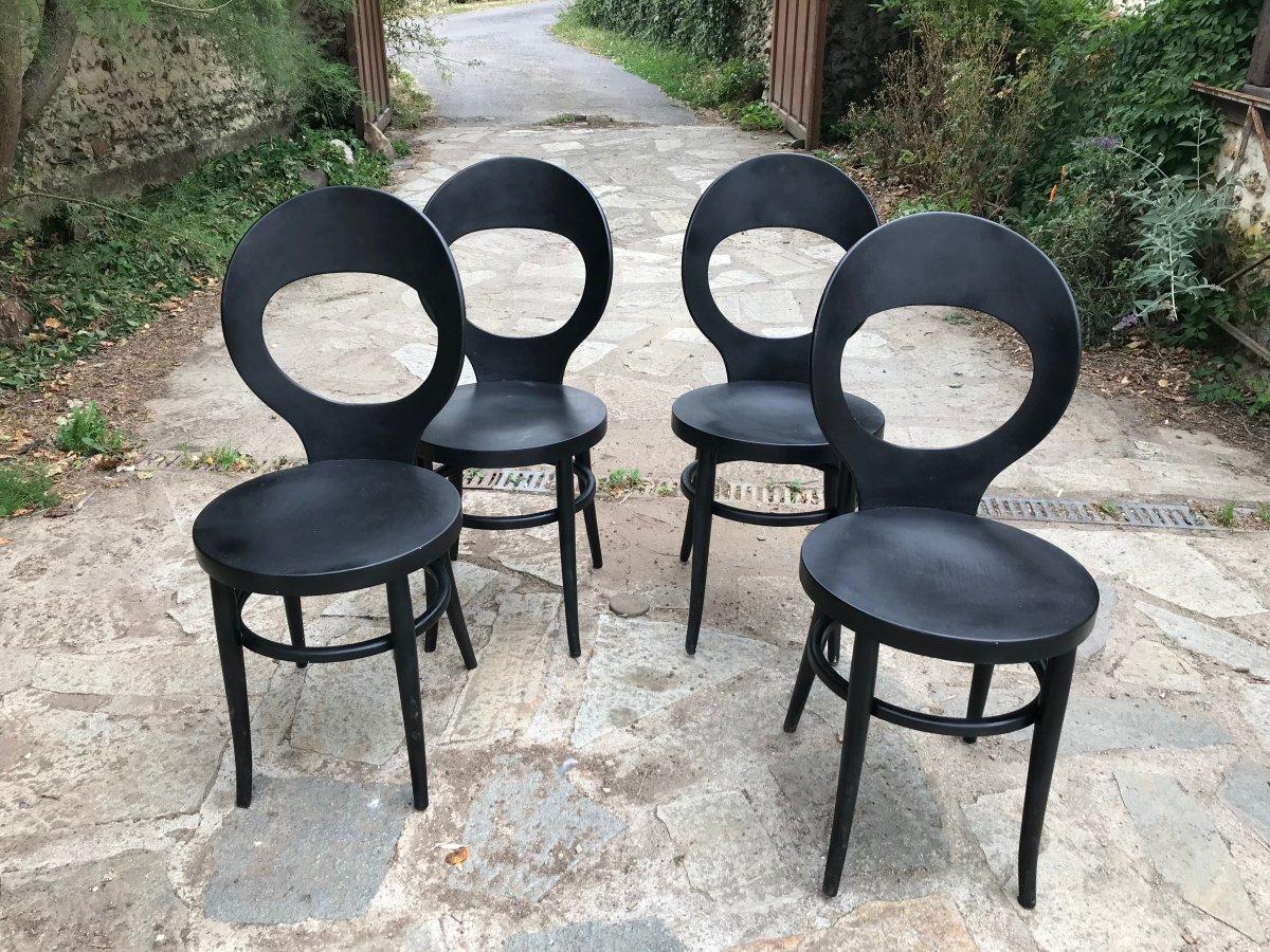 Suite de 4 chaises bistrot Baumann, Années 50.
