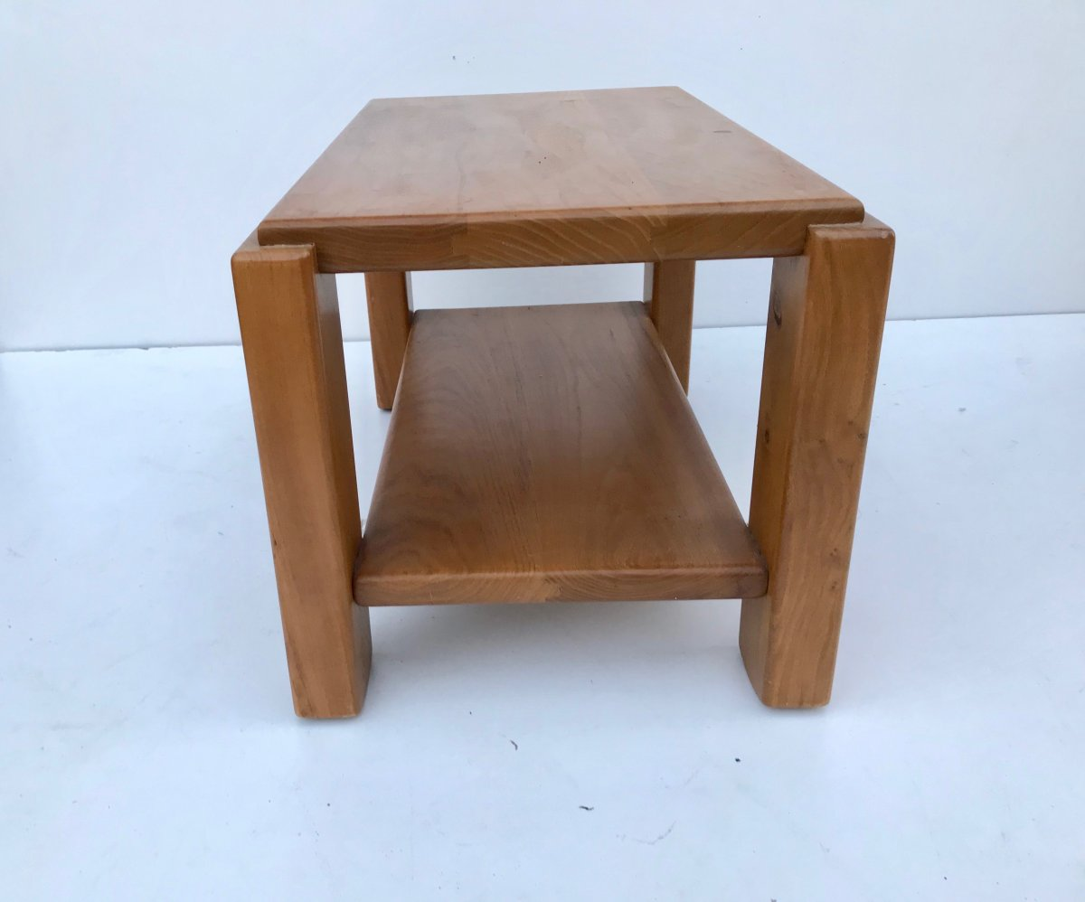 Pair Of Bedside Tables Or Side Tables In Solid Elm, Maison Regain, 1970s.-photo-3