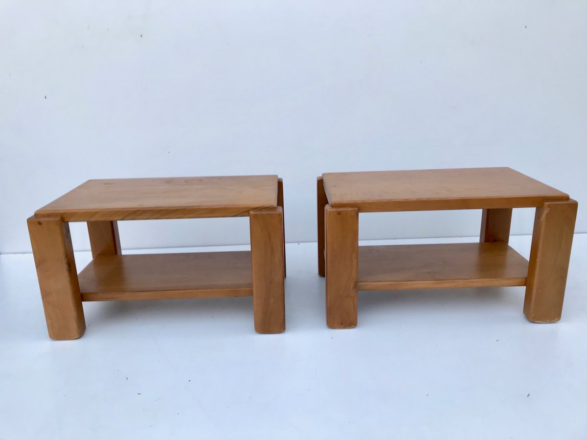 Pair Of Bedside Tables Or Side Tables In Solid Elm, Maison Regain, 1970s.