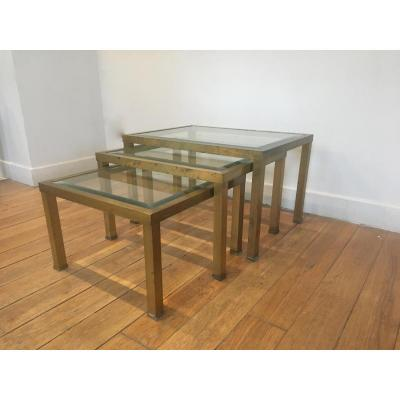 Nesting Tables In Glass And Brass