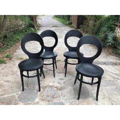 Set Of 4 Baumann Bistro Chairs, 1950s.
