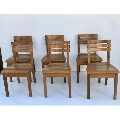 Suite Of 6 Oak Chairs By Charles Dudouyt For La Gentilhommière, France, Circa 1960