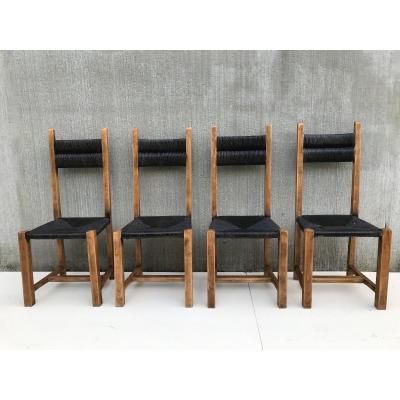 Suite de 4 chaises en paille, circa 1960