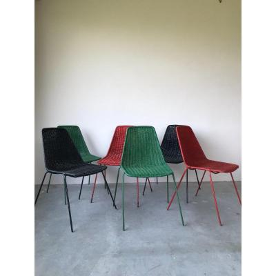Suite Of 6 Chairs By Gianfranco Legler Model Basket, Italy, 1950.