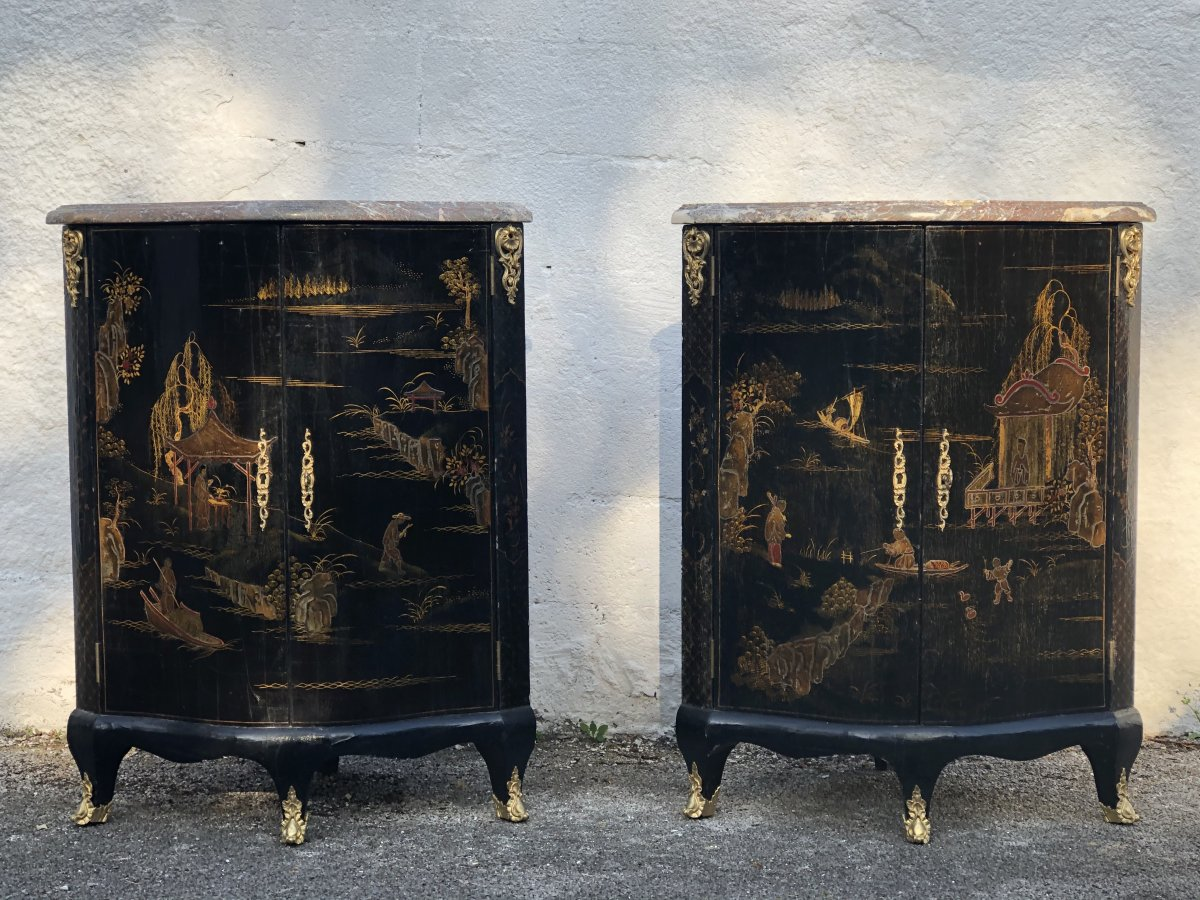 Pair Of Corner Louis XV Style In Black Chinese Lacquer End XIX