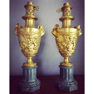 Large Pair Of Gilt Bronze And Marble Napoleon III Lamps