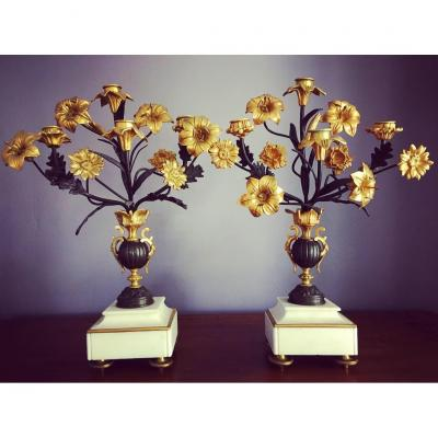 Pair Of Gilt And Patinated Bronze Napoleon III Candelabra.