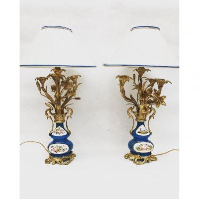 Pair Of Candelabra In Gilt Bronze Lamps, Mounted As Lamps On Sèvres Porcelain