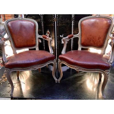 Pair Of Painted Armchairs, Louis XV Style, Late 19th Century, Leather Trim.